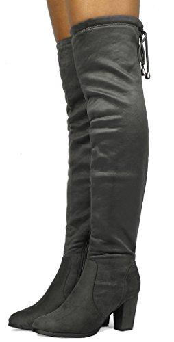 DREAM PAIRS Frauen Oberschenkel High Fashion Overknee Oberschenkel High Block Heel Stiefel Grau