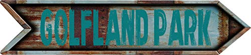 "Any and All Graphics GOLFLAND Park 4""x18"" Arrow Shaped Rustic Antique Vintage Look Composite Aluminum Novelty décor Sign."