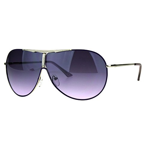 Metal Aviator Shield (Oceanic Gradient Lens Oversize Shield Aviator Metal Luxury Sunglasses Purple Smoke)