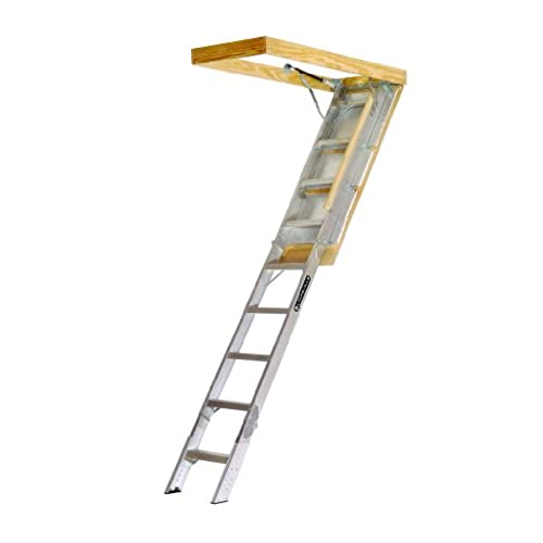louisville ladder aa229gs elite aluminum attic ladder 350 pound capacity 225 inch by 54 inch opening ceiling height 7 foot 9 inches to 10 foot - Werner Attic Stairs