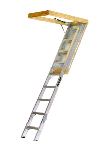 Louisville Ladder AA229GS Elite Aluminum Attic Ladder 350 Pound Capacity 22.5-Inch by 54-Inch Opening Ceiling Height 7-Foot-9-Inches to 10-Foot by Louisville Ladder