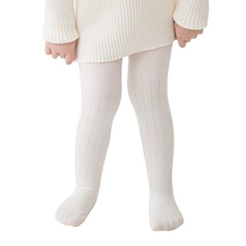 marc janie Baby Toddler Girls' Cotton Stretch Seamless Tights 2-4 Years White ()