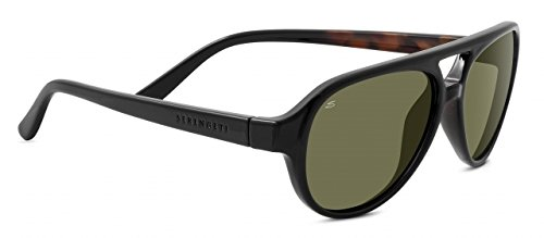 Serengeti 8181 Giorgio Sunglass, Shiny Black Tortoise Frame, Polarized 555nm Lens