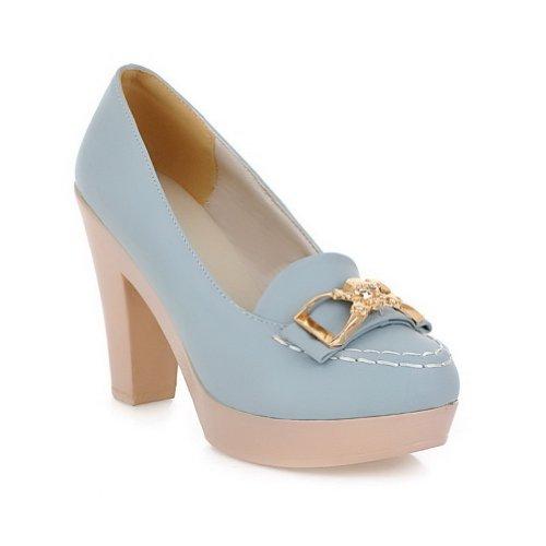 Amoonyfashion Femmes Bout Rond Fermé-orteil Talons Hauts Pompes-chaussures Avec Décoration En Métal Et Plate-forme, Bleu, 36
