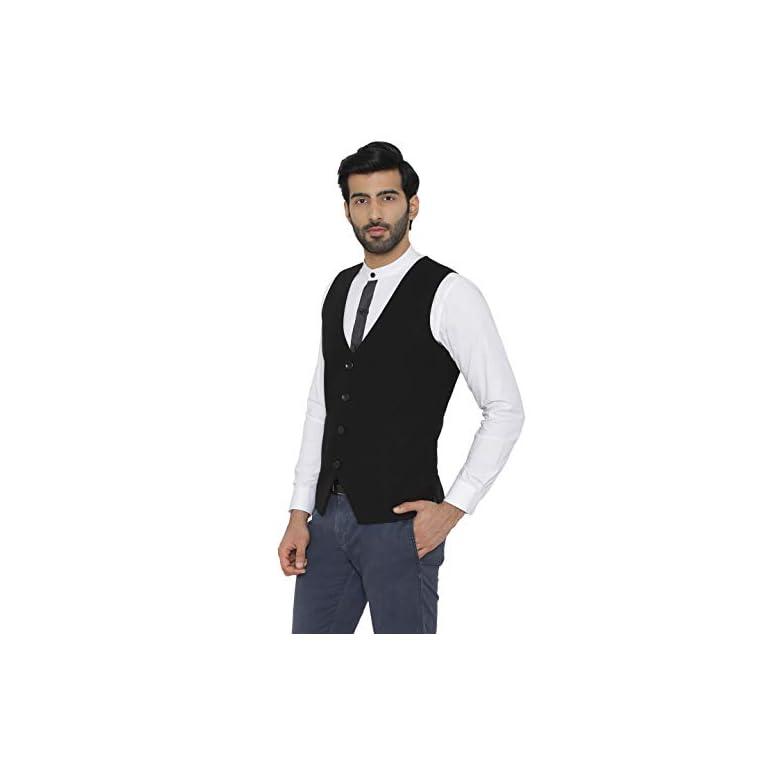 31ugeofCSLL. SS768  - Raas Prêt Men Black Cotton Waistcoat