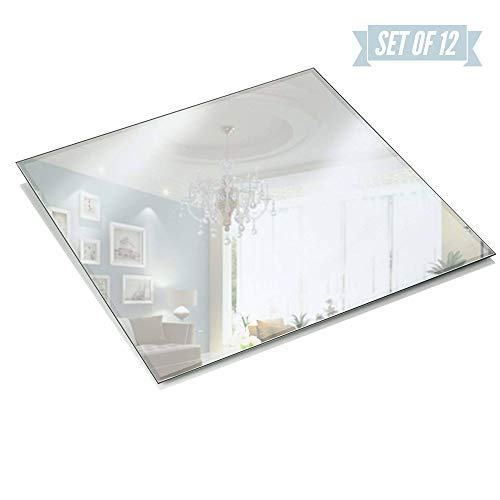 Light In The Dark 12 Inch Square Mirror Candle Plate 3 mm Thick with Beveled Edge Set of 12 (Mirror Square 12)