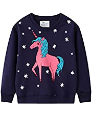 Doomiva Kids Little Girls Cute Horse Embroidered Crew Neck Warm Pullover Top Active Workout Sports T Shirt