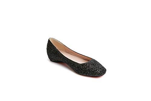 Sdc06172 Uretano Mujer Zapatos Con Brillantes Para De Tachuelas Tacón Adeesu Negro pxqwIn4daq