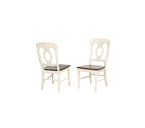 Sunsеt Trаding Andrews Dining Chairs, Distressed Antique White with Chestnut seat