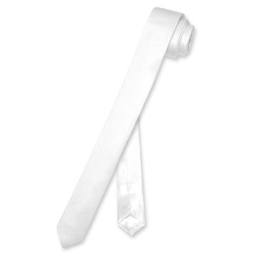 Biagio 100% SILK Narrow NeckTie EXTRA Skinny WHITE Color Men's 1.5