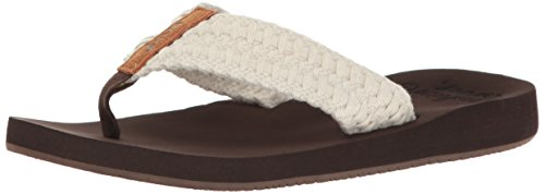 Reef Women's Cushion Threads Flip-Flop, Vintage White, 8 M - Ginger Womens Reef