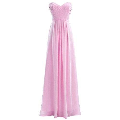 Lemai Chiffon Sweetheart Plus Size Long Simple Corset Prom Bridesmaid Dresses Pink US20W