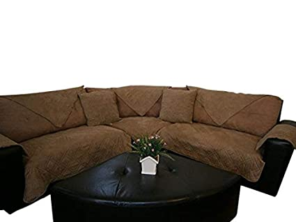 Amazon Com Bonded Micro Suede Quilted Sectional Sofa Throw Pad