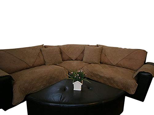 - Bonded Micro Suede Quilted Sectional Sofa Throw Pad Furniture Protector Sold By Piece Rather Than Set (Peat, 35x94