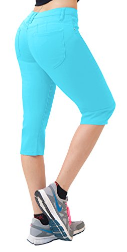 (Hybrid & Co. Women's Butt Lift Super Comfy Stretch Denim Capri Jeans Aqua 22)