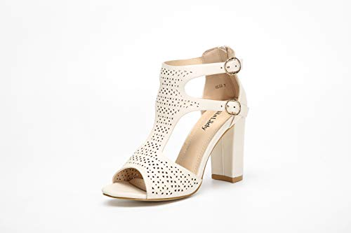 Open Toe Strappy Ankle Strap - Mila Lady Comfortable Perforated Cutout Hollow Leather Strappy Block Chunky Open Toe Double Ankle Strap High Heeled Sandals, OLGA Nude 7.5