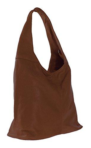 fermeture Dark 41x55x12cm Made main éclair sac Italy dans véritable la sac CTM bandoulière 100 à in en à cuir femme Brown 1PwfqA