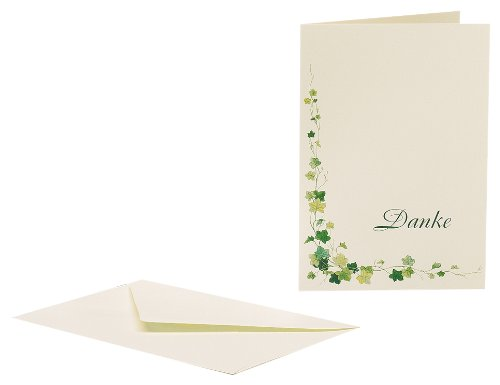 Rössler 1180404200 Thank You Card 165 x 115/230 mm with German 'Danke' Text and Ivy Design [German Import]