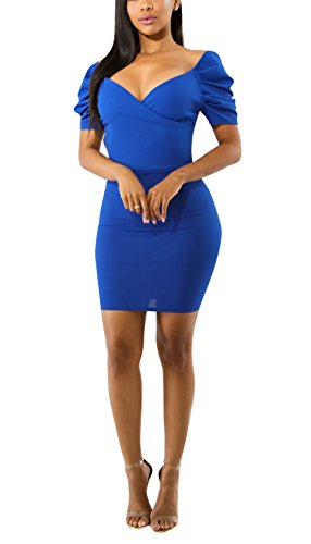 Wrap Sleeve Puff (PrettySoul Women Sexy V Neck Wrap Short Puff Sleeve Off Shoulder Business Cocktail Party Mini Pencil Bodycon Dress Blue, Small)
