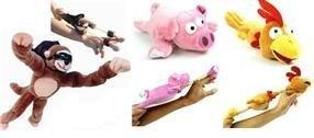 Set of 3 Farmyard Flingshot Flyers Farm Stuffed Animals Monkey Pig & Chicken