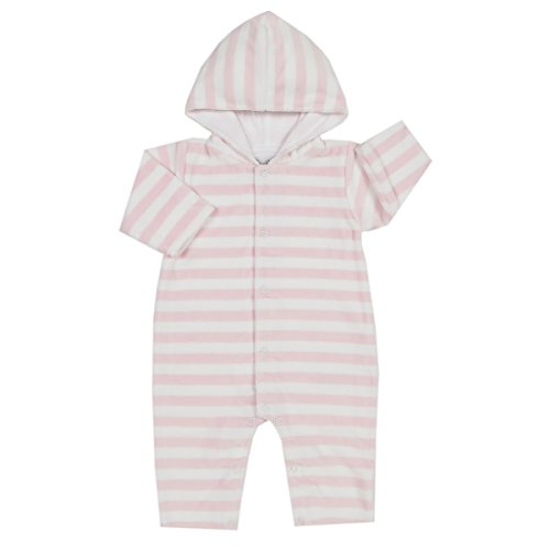 - Kissy Kissy Baby Girls Mini Pets Velour Stripe Hooded Playsuit - Pink-0-3mos