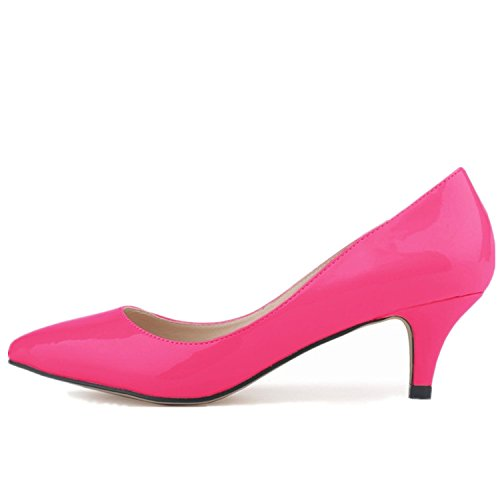 SAMSAY Women's Slender Kitten Heels Pointed Toe Pumps Court Shoes Rose Red