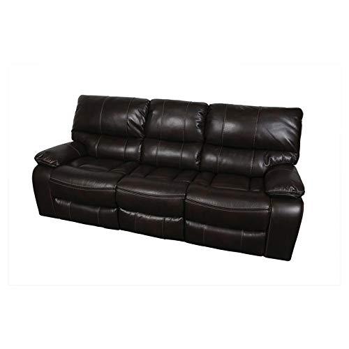 Amazon.com: Alameda Chocolate Leather-Look Reclining Sofa ...