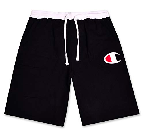 Black Logo White And (Champion Mens Big and Tall Cotton Jersey Active Shorts with Embroidred Logo Black/White 1X)