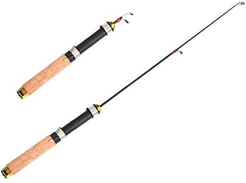 Tamkyo Retractable Fishing Rods Pocket Short Ice Fishing Rod 60cm Straight Handle Fishing Rod Winter Fishing Supplies