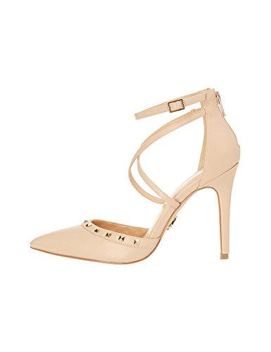 Lipsy Women Studded Cross Strap Open Courts Nude US 8 (UK (Front Court Clog)