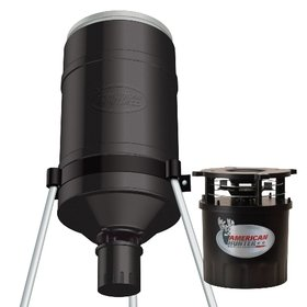 GSM Outdoors R-180PROVBEZ American Hunter Ez Fill Tripod Feeder with R-Kit Pro and Varmint Buster, 180 lb.