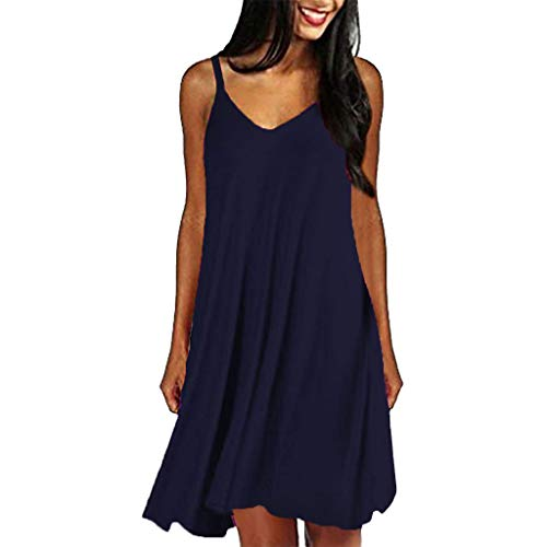 Zlolia Women's Solid Color Camisole Dresses Deep V off the Shoulder Plain Simple Dress Summer Casual Beach Skirts