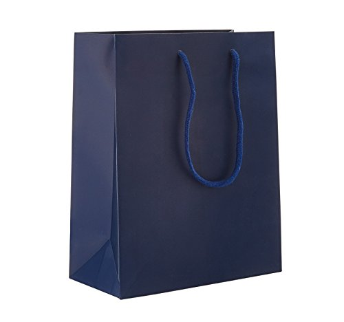 8 x 4 x 10'' Blue Navy Matte - 100 pack | Heavy Duty Standard Original Style Paper Tote Bag Set | Perfect for Gifts, Party, Baby Shower, Kid's Birthdays, Weddings, Lunch & More by Prime Time Packaging Ltd