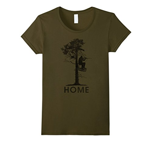 - Womens Home Is In A Treestand Hunter Vintage Graphic T-Shirt Small Olive