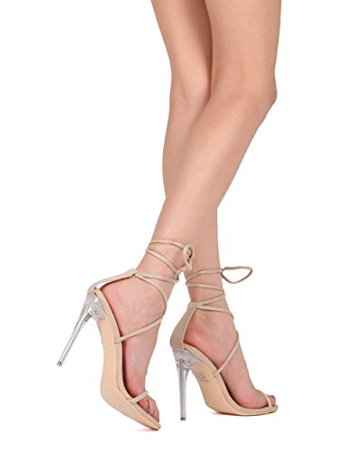 Alrisco Women Faux Suede Open Toe Ankle Strap Perspex Stiletto Heel Sandal - HG86 by MackinJ Beige Faux Suede 7z46KMpl