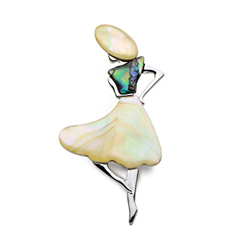 WULI & BABY Natural Shell Yellow Dress Lady Brooches For Women And Men (Shell Yellow Brooch)
