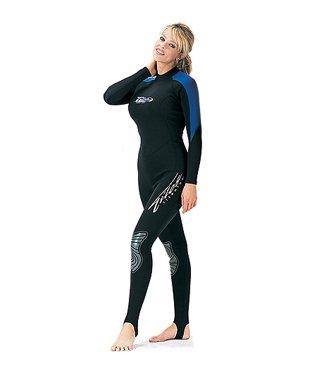1mm Tilos Velvetlight Jumpsuit Wetsuit for Diving, Surfing, Snorkeling, Water Sports Womens, Black/Blue, XL