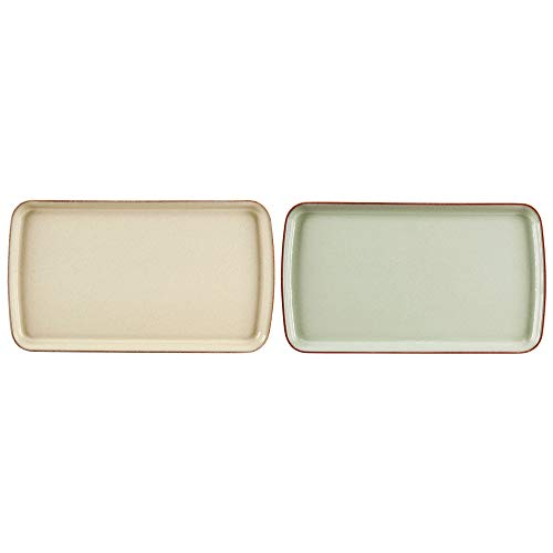 Denby Always Entertaining Deli Rectangular Platter, Stone, Yellow/Green, Small, Set of 2