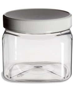 Clear Food Grade PET Plastic Square Grip Storage Jar w/ Cap - 16 Fluid Ounces (1-2 Cup Storage Capacity) by Pride Of India (Small Plastic Mason Jars)