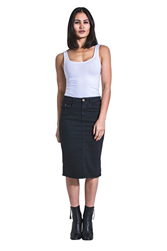 - USKEES Kay Mid-Length Denim Skirt - Black Denim Pencil Skirt with Stretch