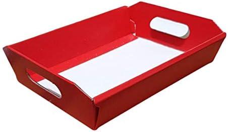10 Pz Cesto Carta Cartone Pelle Rossa Piccolo 220x160H50 mm Strenne Cesti Natalizi di Natale Regalo Enogastronomia Small Red Leather Cardboard Box