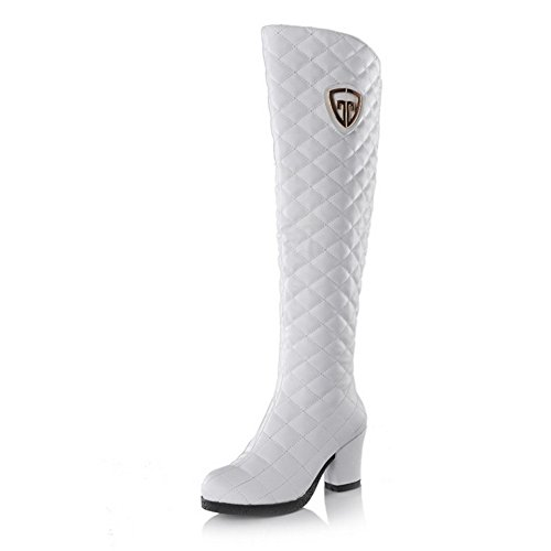 Heels Soft with Material Heels High PU Boots Women's Rough Allhqfashion White qSzZwa7PnP
