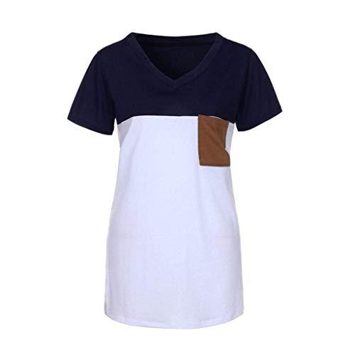 Et Elgante Avant Couleurs V Femme Haut Mode Mlanges Casual Mode Top Cou Poches Chemise Shirts Jeune T Courtes Spcial Tshirts Marine Style Manches Branch Blusen 0wqxa5