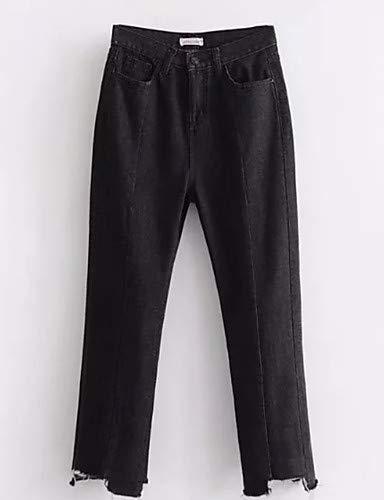Travail Couleur YFLTZ Pantalon Slim Unie Femme Jeans Black gqf6Ax1