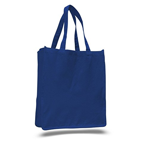 SHOPINUSA Buy Bulk ( 20 PACK )Jumbo Size Heavy Canvas Shopping Tote bags With Full Gusset (Royal) ()
