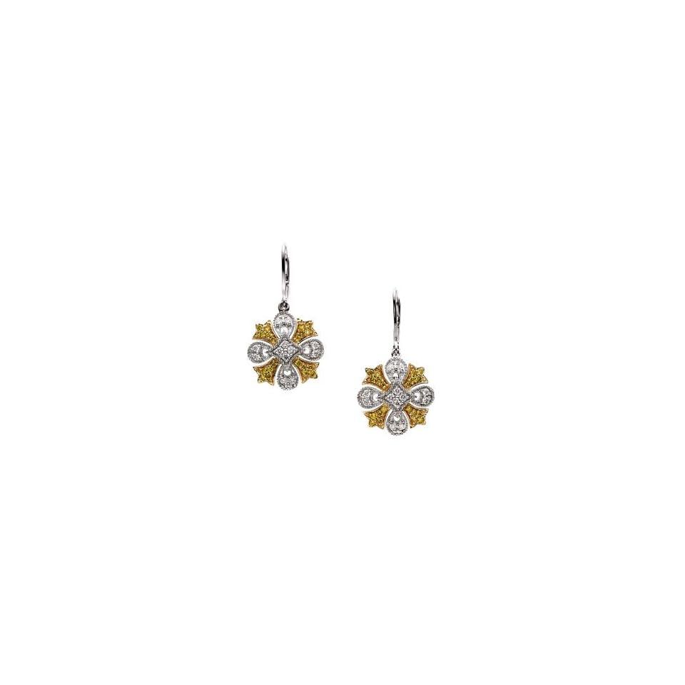 Pair 1/2 CT TW 14K White/Yellow Gold Two Tone Diamond Earring