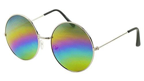 Lennon Style Round Sunglasses Color Mirror Lens Men Women Eyewear (Silver/Rainbow Mirror, - Sunglasses Moscot