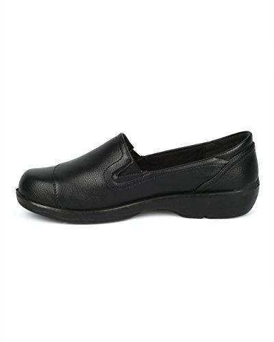 Alrisco Women Comfort Work Loafer - Elevated Heel Walking Shoes - Comfortable Casual Everyday Versatile Shoes - HD89 by Refresh Collection Black Leatherette l2QcsORhw