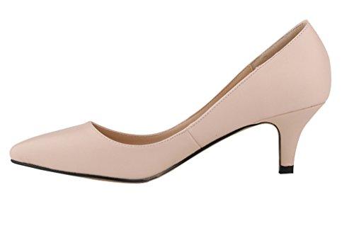 soft Women's Kitten Dress Closed Low On Pointed Heel Toe Slip Pumps pu nude xX6XnAO