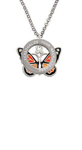 Large Monarch Butterfly with 6 AB Crystals Custom Engraved Affirmation Ring Necklace